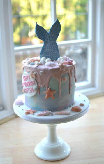 Mermaid tail birthday cake