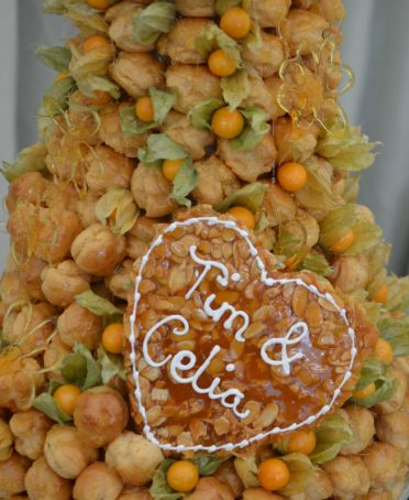 Close up of large croquembouche Hampshire