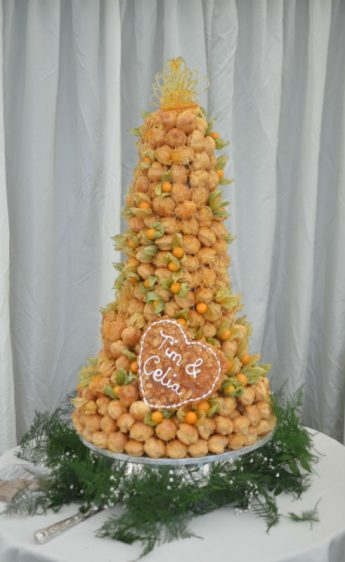 Large croquembouche with nougatine heart Private estate Old Alresford Hampshire