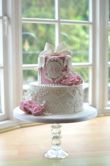 Christening cake with embroidery anglaise