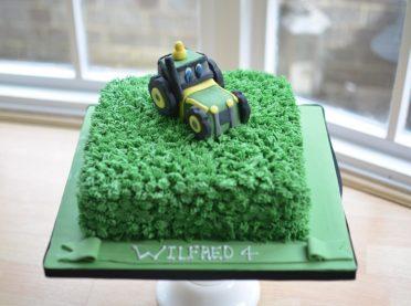 Tractor & grass birthday cake