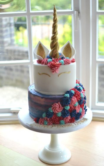 Two tier unicorn birthday cake