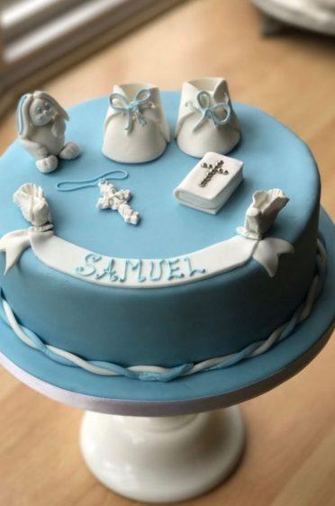 Booties & bunny Christening cake.
