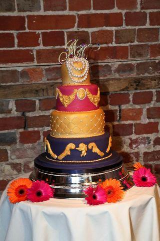Baroque wedding cake bride is a window dresser at Harrods!