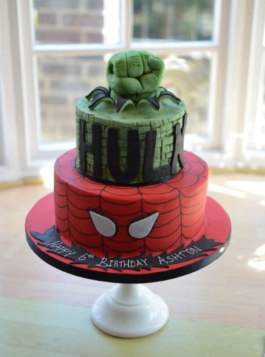 2 Tier Hulk and Spiderman cake