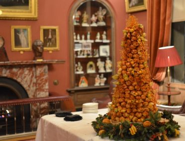 Christmas croquembouche Piece Montee with toffee snowflakes at The Garrick Club Covent Garden.