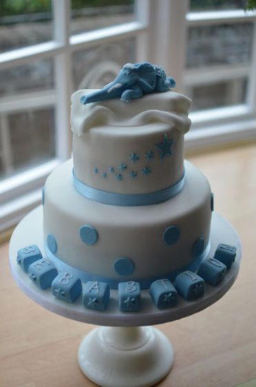 Baby boys Christening cake with Indian elephant.
