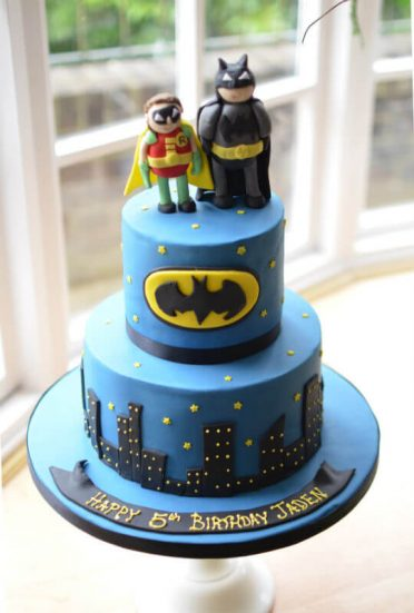 Batman & Robin birthday cake handmade sugar models