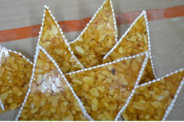 Nougatine pieces for an extra decoration for the croquembouche.