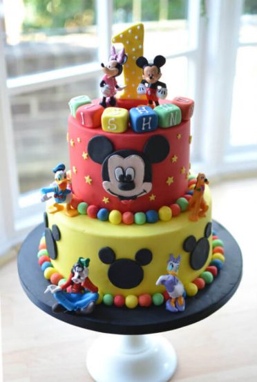 Minnie Mouse Yellow Red Two Tier Cake
