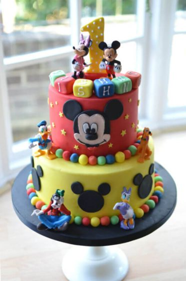 Minnie Mouse Yellow & red two tier cake.