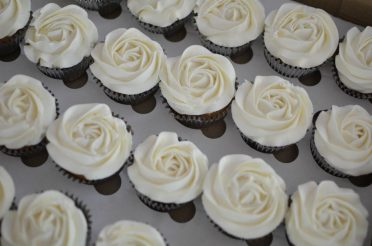 Rose piped vanilla cupcakes