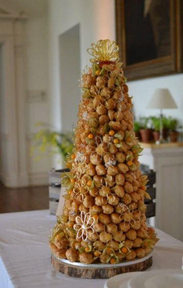 Croquembouche filled with vanilla pastry cream North Cadbury Court, Yeovil in Somerset.