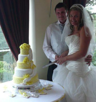 Drapes & Roses wedding cake