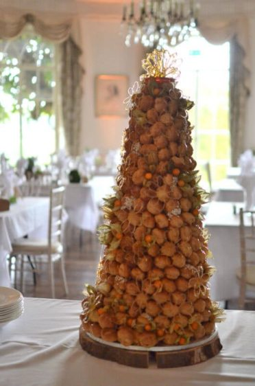 Croquembouche Piece montee in the ballroom at North Cadbury Court Yeovil