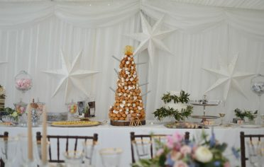 Croquembouche with fountain candles at Smedmore House