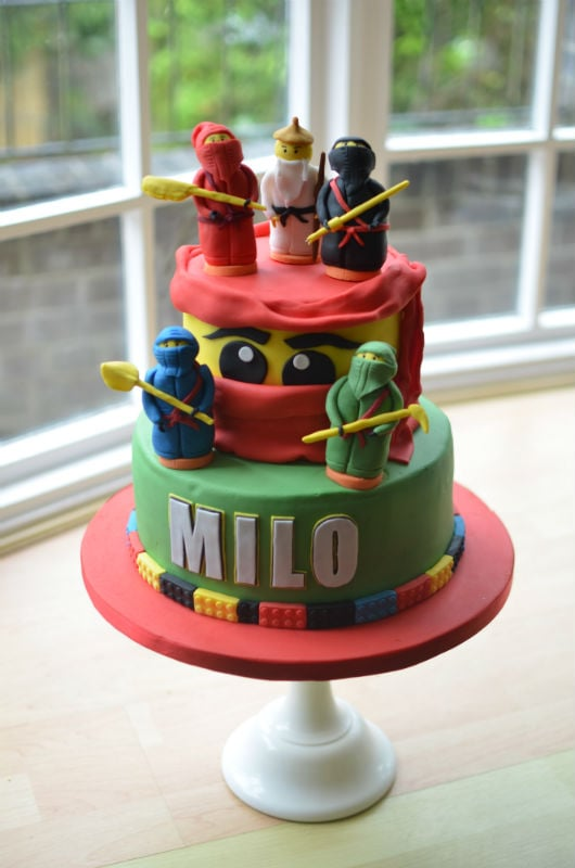 LEGO Ninja birthday cake with handmade sugar Ninjas -