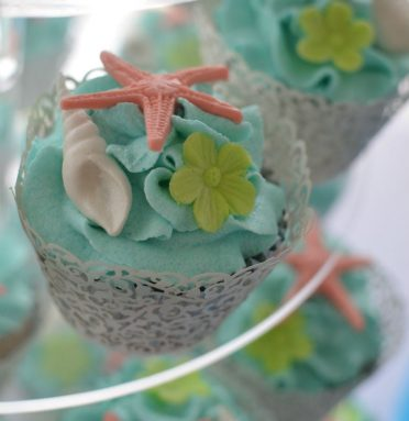 Close up of beach cupcakes. FJB Sandbanks Hotel