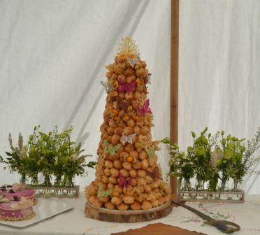 Croquembouche with butterflies Somerset.