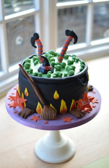 Cauldron birthday Halloween cake.