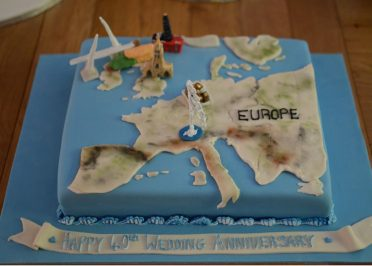 Europe cake with personalised landmarks