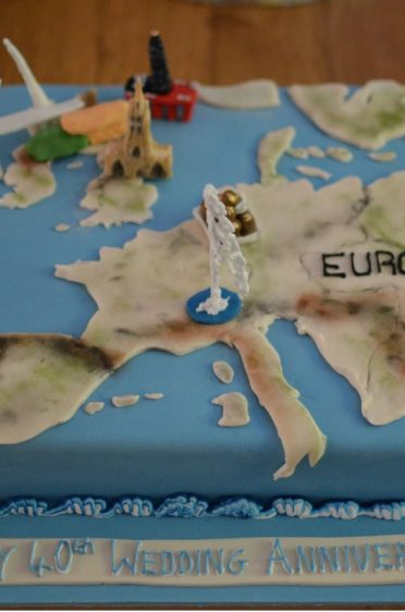 Europe cake with personalised landmarks