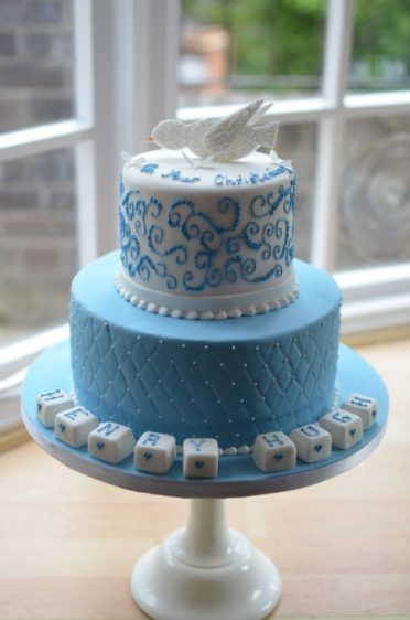 Boys Christening cake with dove