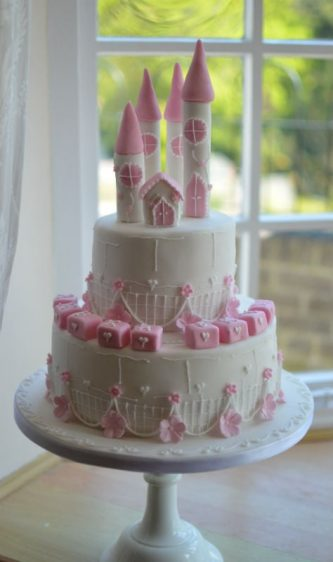 White & pink castle cake