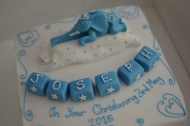 Close up of elephant Christening cake