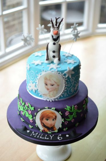 Frozen cake with Olaf topper