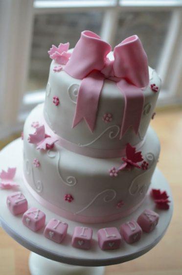 Pink bow & butterflies
