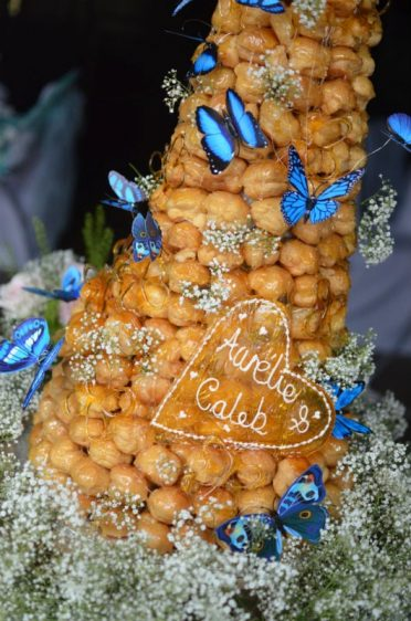 Close up of Croquembouche wedding cake