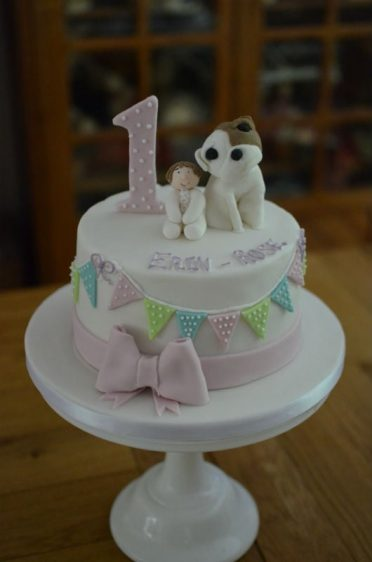 1st Birthday Baby & pet dog cake.