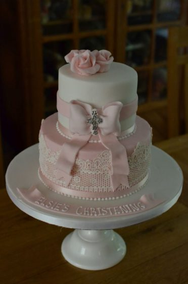 Lace & roses Christening cake.