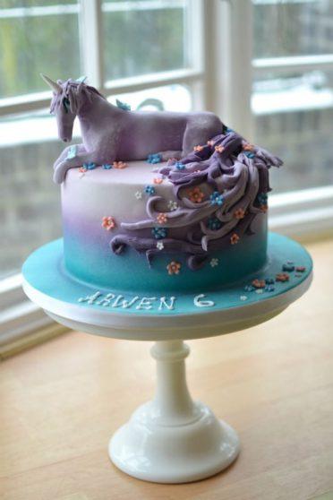 Lilac Unicorn birthday cake.