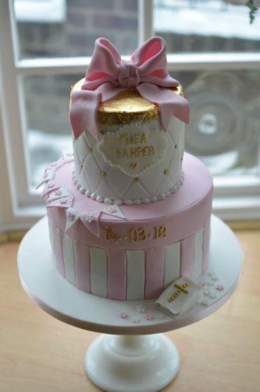 Gold leaf & pink bow Christening cake.