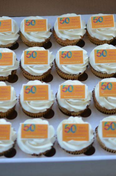 Golden anniversary corporate cupcakes