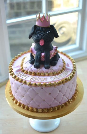 Pug pink & gold birthday cake