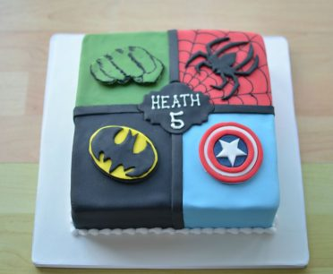 Square superheroes cake
