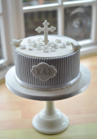 Pale grey & ivory dove Christening cake