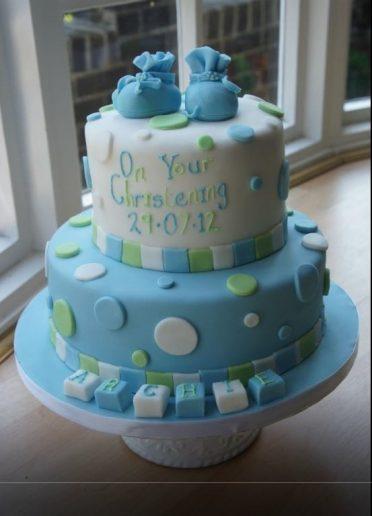 Booties & spots Christening cake