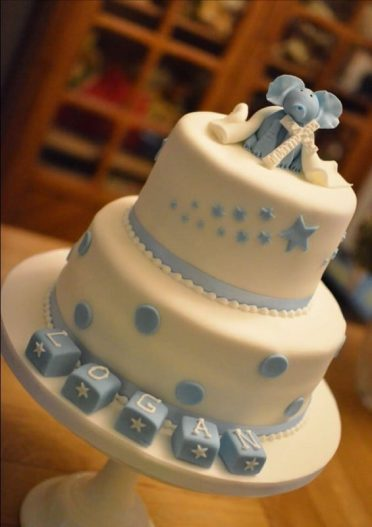 Boys Elephant Christening cake