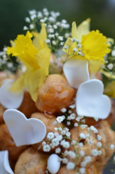 Close up of spring croquembouche