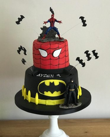 Spiderman Batman birthday cake